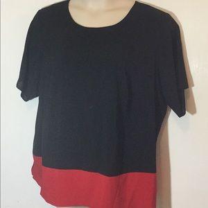 Calvin Klein Black/ Red Plus Size Blouse 1X